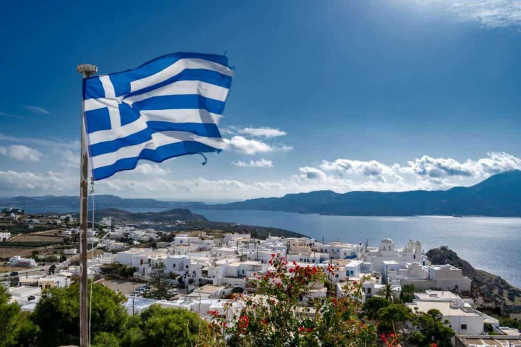 bandera griega santorini